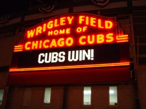 "A rare ""Cubs Win"" sign."